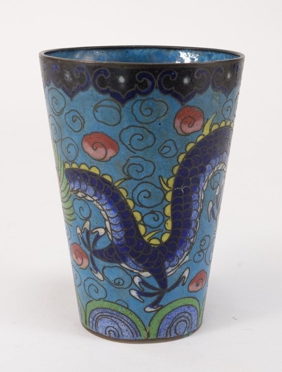 Chinese Cloisonne Enamel Dragon Cup - 2