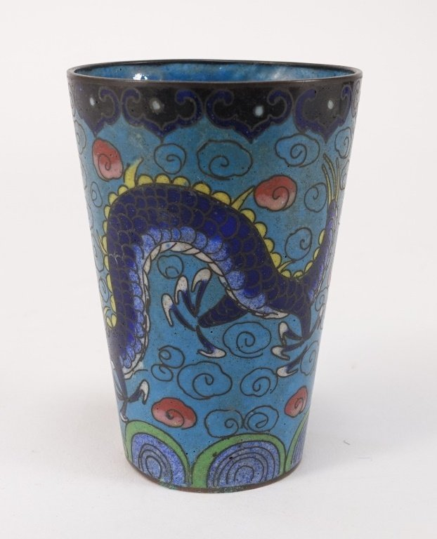 Chinese Cloisonne Enamel Dragon Cup - 3
