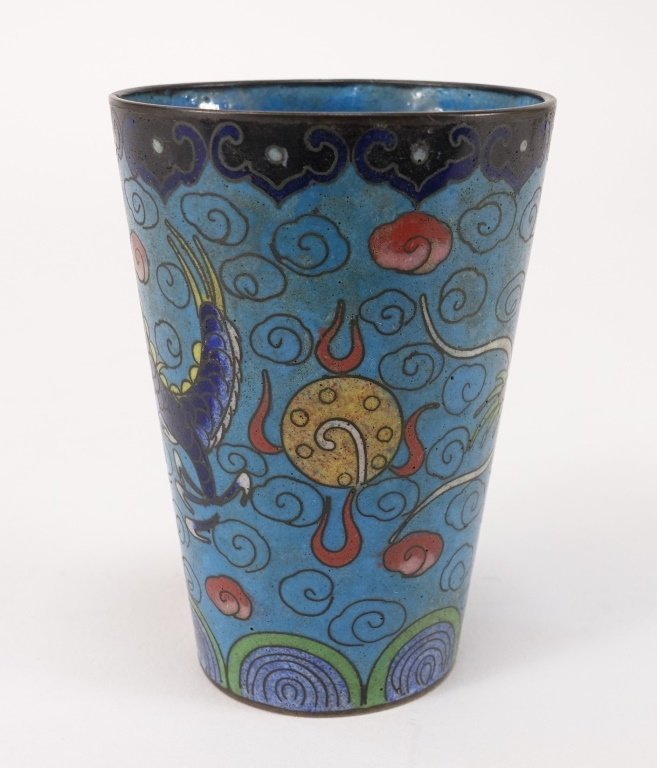 Chinese Cloisonne Enamel Dragon Cup - 4