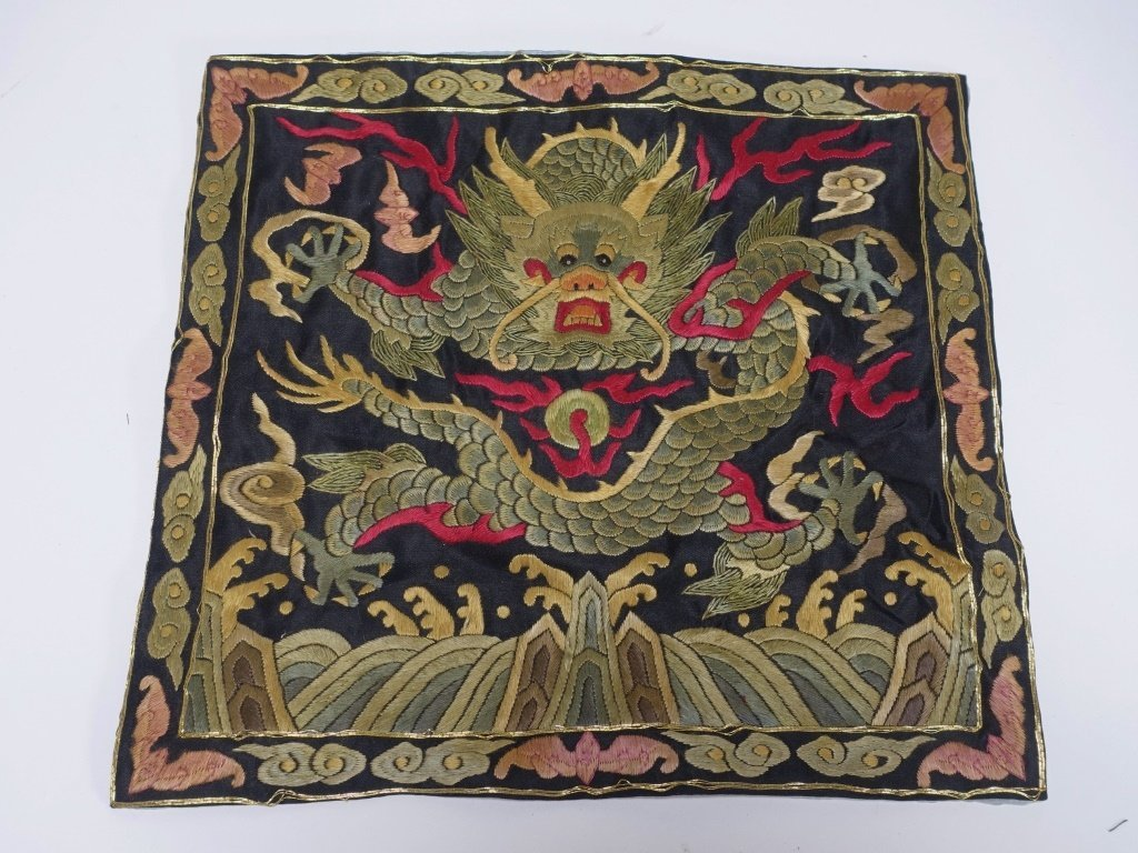 2 Chinese Needle Stitch Textile & Rank Badge - 5