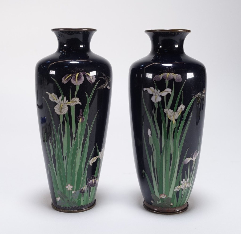 PR Japanese Cloisonne Silver Wire Iris & Bird Vase