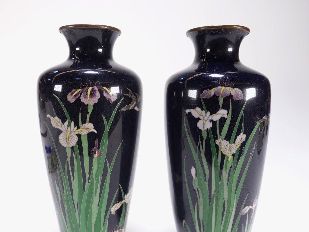 PR Japanese Cloisonne Silver Wire Iris & Bird Vase - 2