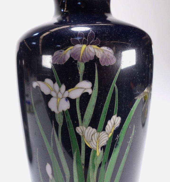 PR Japanese Cloisonne Silver Wire Iris & Bird Vase - 3