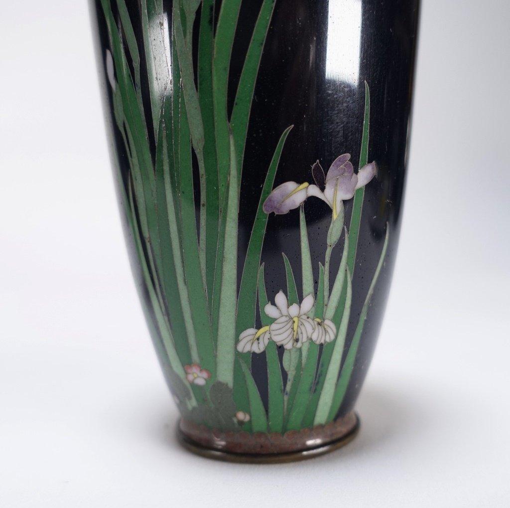 PR Japanese Cloisonne Silver Wire Iris & Bird Vase - 4