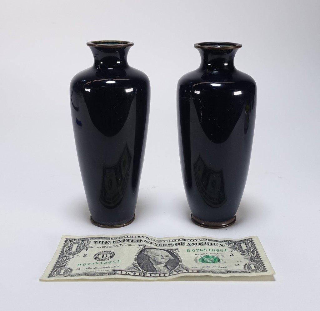 PR Japanese Cloisonne Silver Wire Iris & Bird Vase - 5