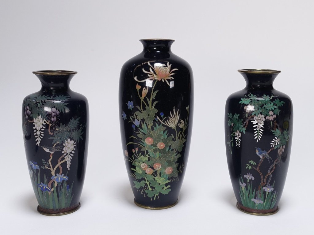 3 Japanese Cloisonne Silver Wire Floral Vases