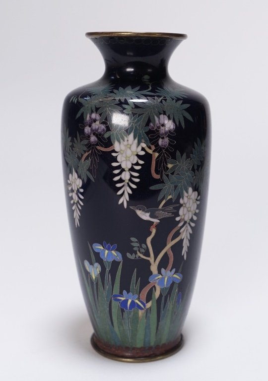 3 Japanese Cloisonne Silver Wire Floral Vases - 2