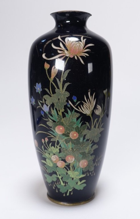 3 Japanese Cloisonne Silver Wire Floral Vases - 3