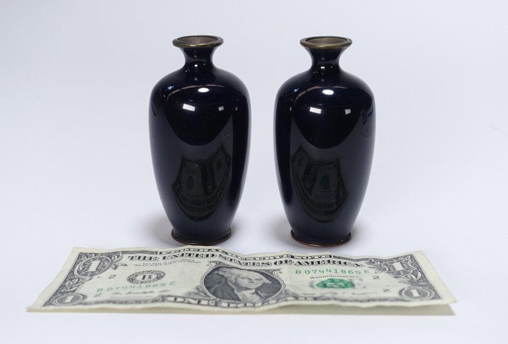 PR Japanese Miniature Cloisonne Silver Wire Vase - 4