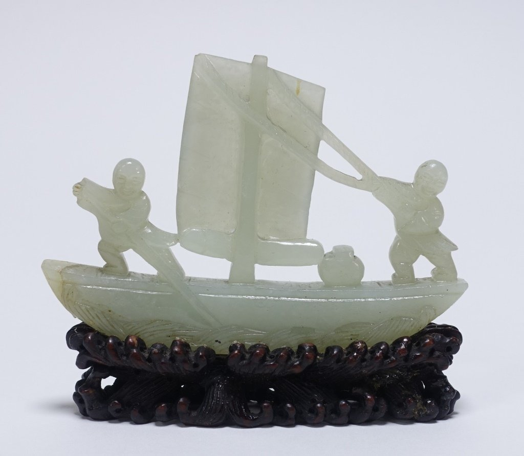 Chinese Hardstone Jade Tree & Boat Sculpture - 2