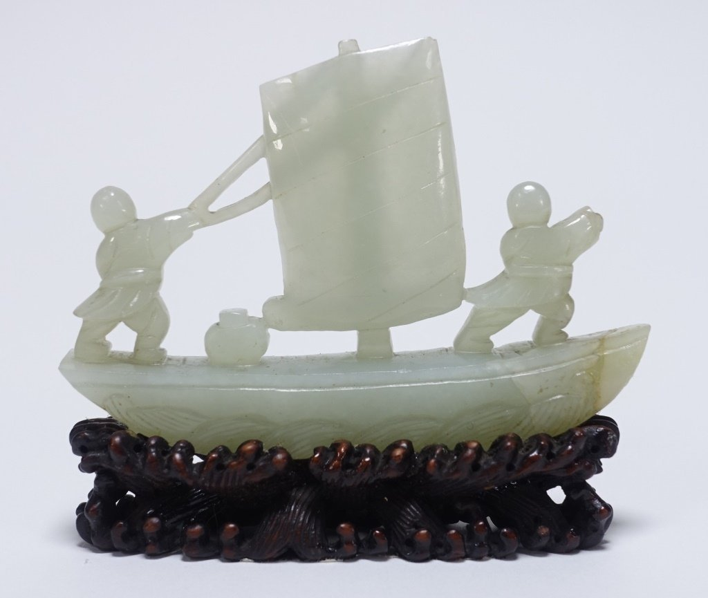 Chinese Hardstone Jade Tree & Boat Sculpture - 3