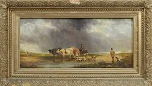 Edmund Aylburton Willis Farm Hunting O/C Painting