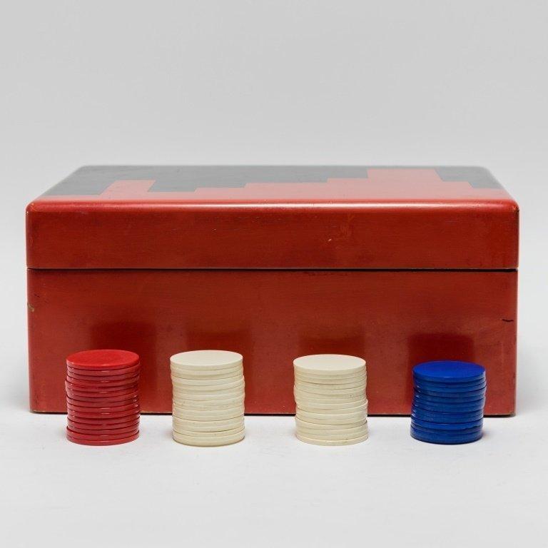 Vintage Art Deco Casino Gaming Poker Chip Set