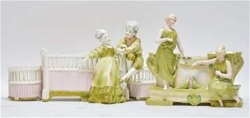 2 Austrian Amphora Figural Porcelain Planters