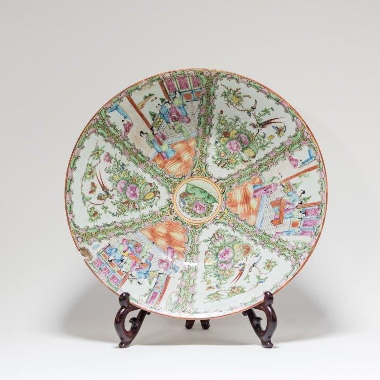 LG Chinese Rose Medallion Porcelain Charger Bowl