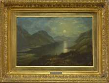 John Applebee Moonlit Mountain Landscape Painting