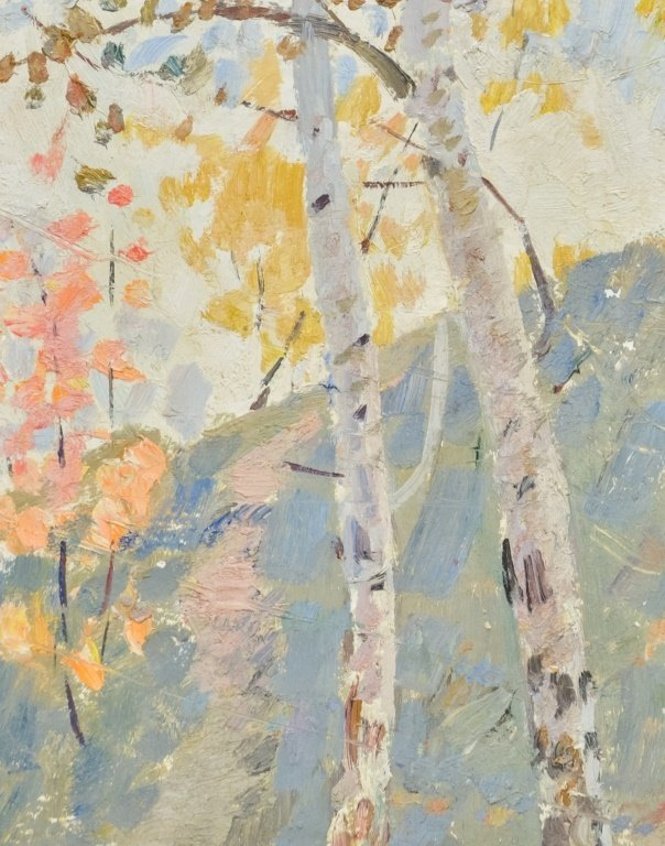 Grigoryi Shponko Russian Landscape Birch Painting - 2