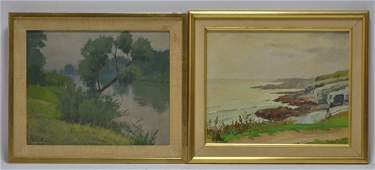 2 Gustave Hagstrom Seascape Landscape Oil Painting