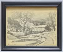 Emile Gruppe Charcoal Drawing of Covered Bridge