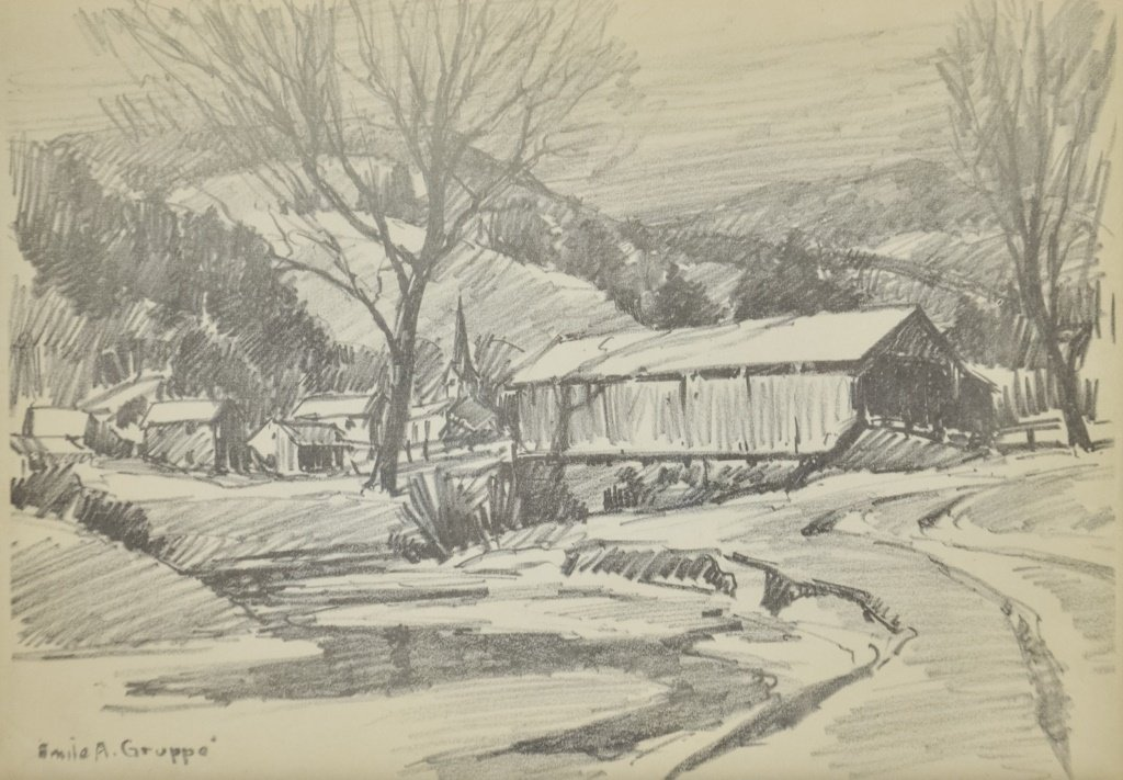 Emile Gruppe Charcoal Drawing of Covered Bridge - 2