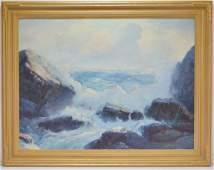Fred Pye Rocky Crashing Wave Seascape Oil Painting