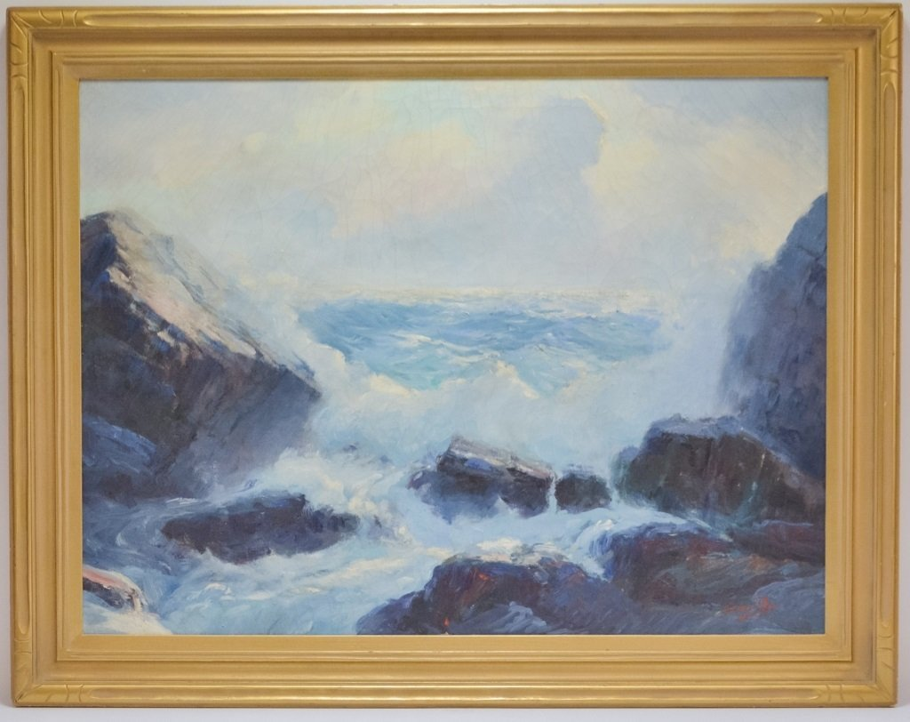 Fred Pye Rocky Crashing Wave Seascape Oil Painting