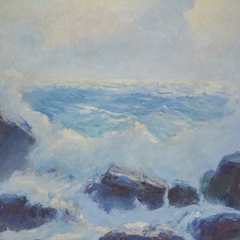 Fred Pye Rocky Crashing Wave Seascape Oil Painting - 2