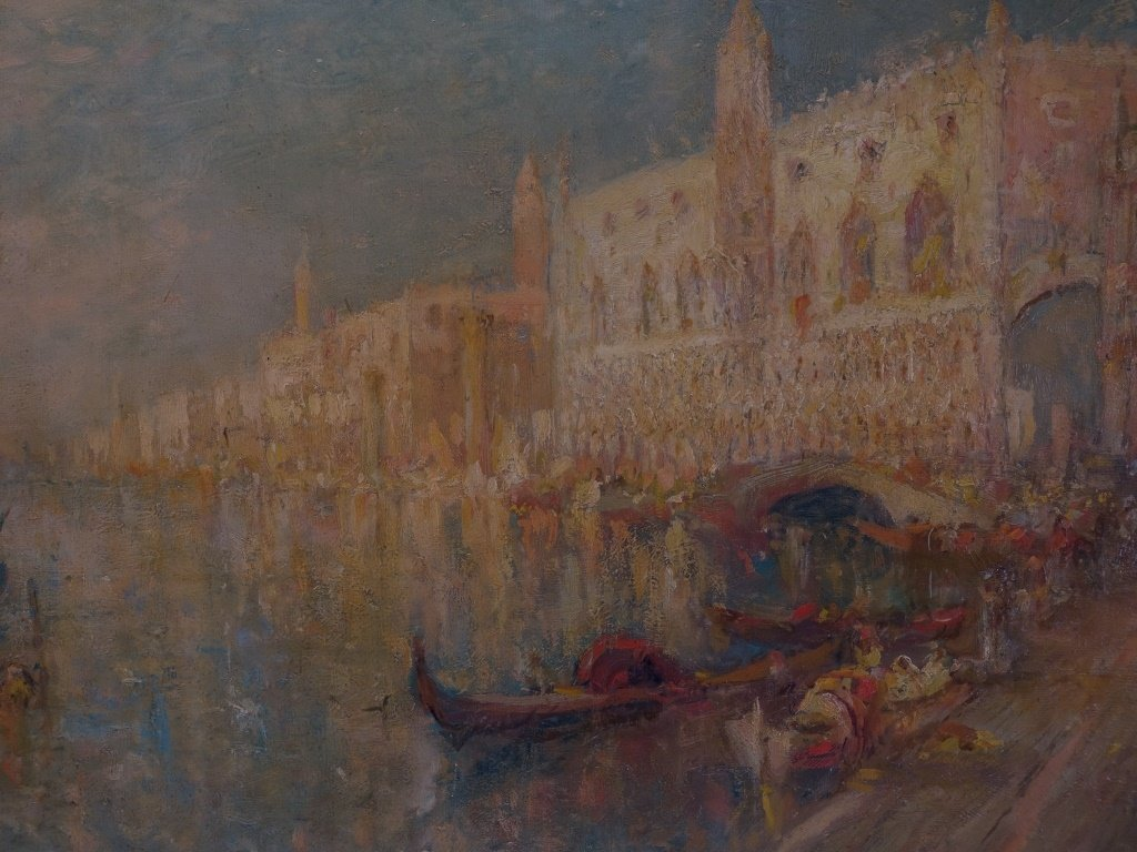 Lucien Powell Grand Canal Venetian Scene Painting - 3