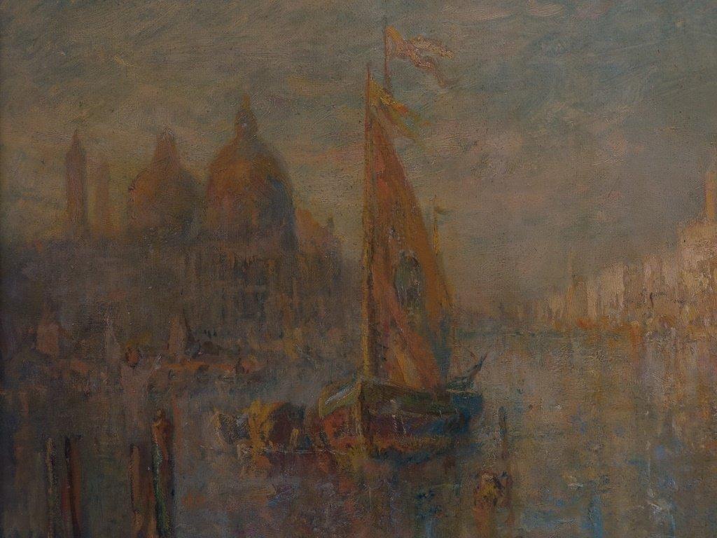Lucien Powell Grand Canal Venetian Scene Painting - 4