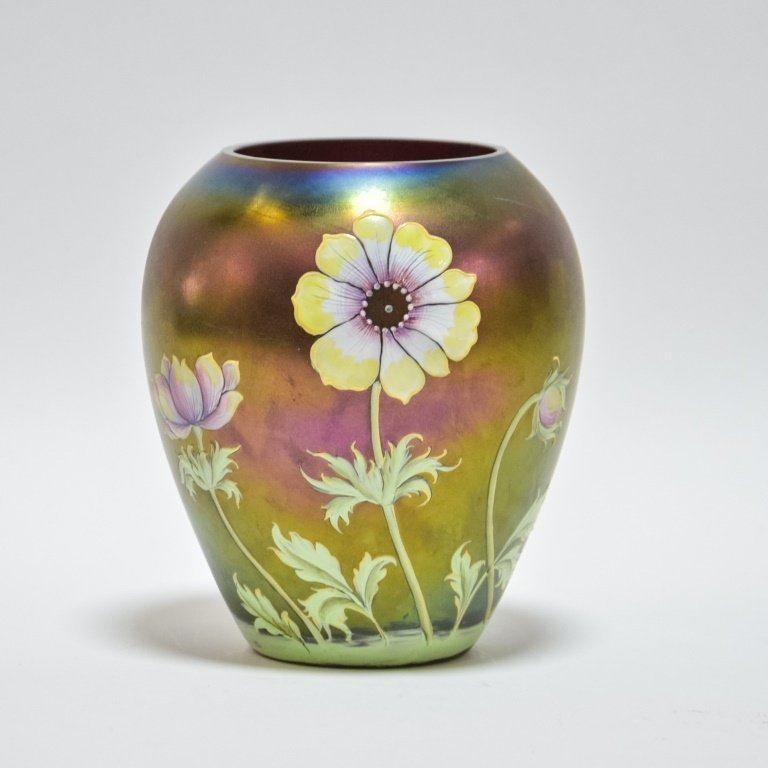 Austrian Loetz Art Glass Enamel Floral Vase