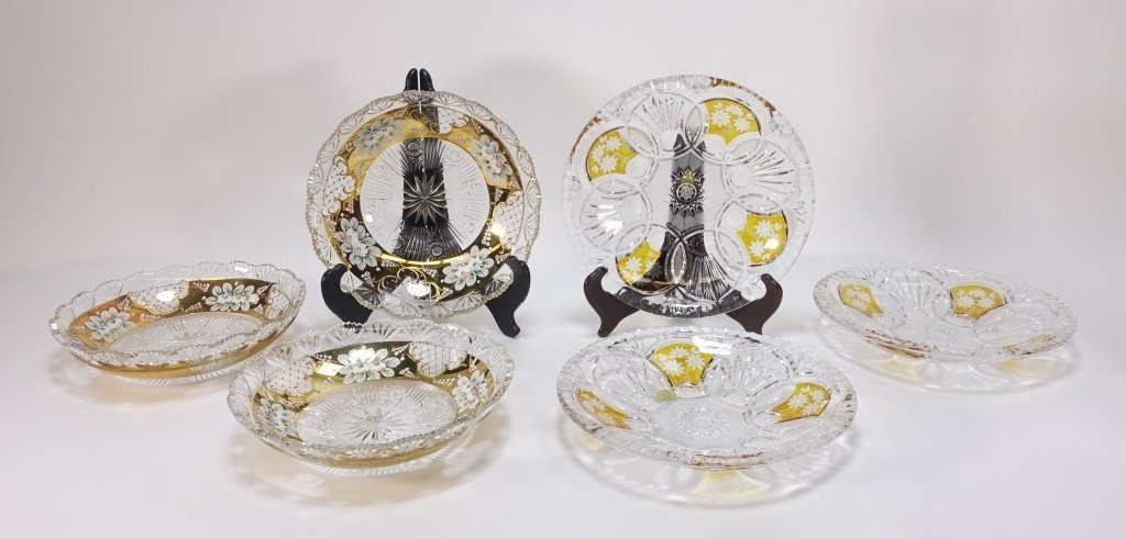 6 Czech Bohemian Enamel Cut Glass Plate Bowls
