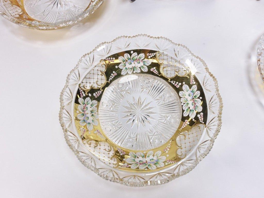 6 Czech Bohemian Enamel Cut Glass Plate Bowls - 2