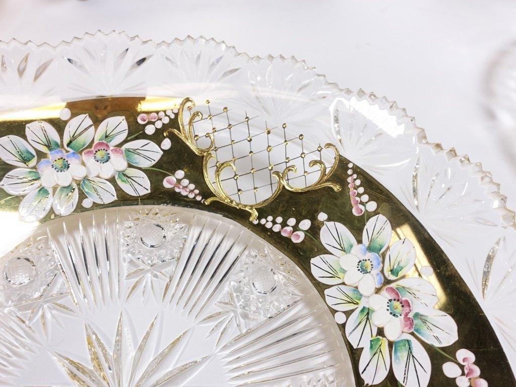 6 Czech Bohemian Enamel Cut Glass Plate Bowls - 3