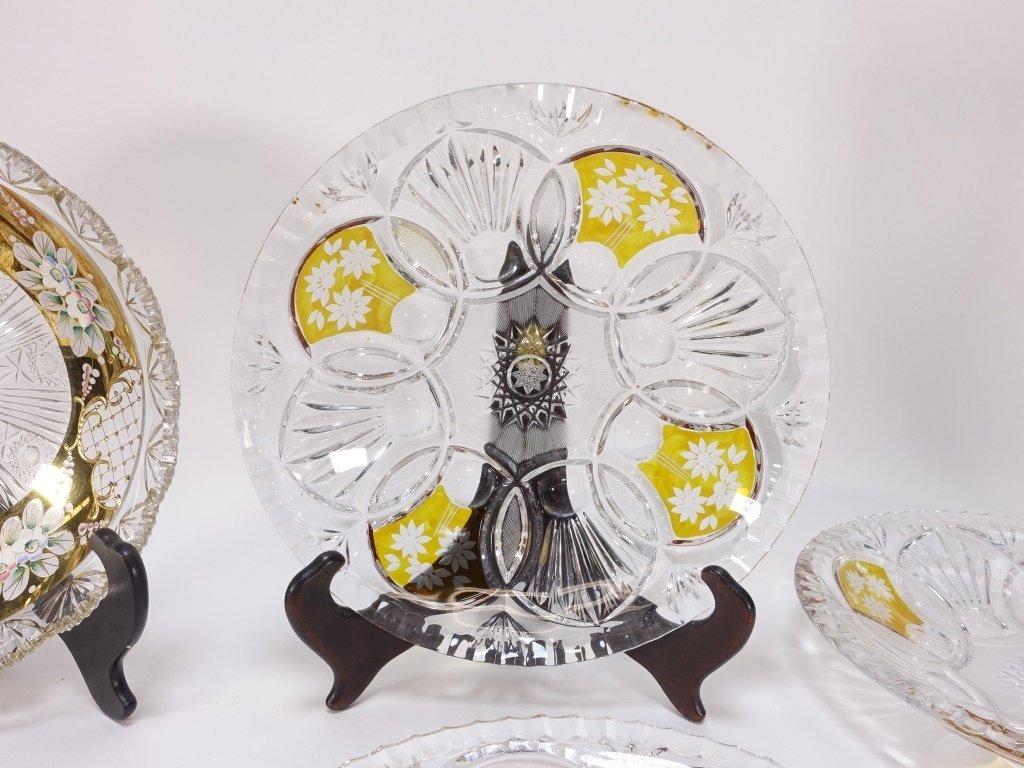 6 Czech Bohemian Enamel Cut Glass Plate Bowls - 4