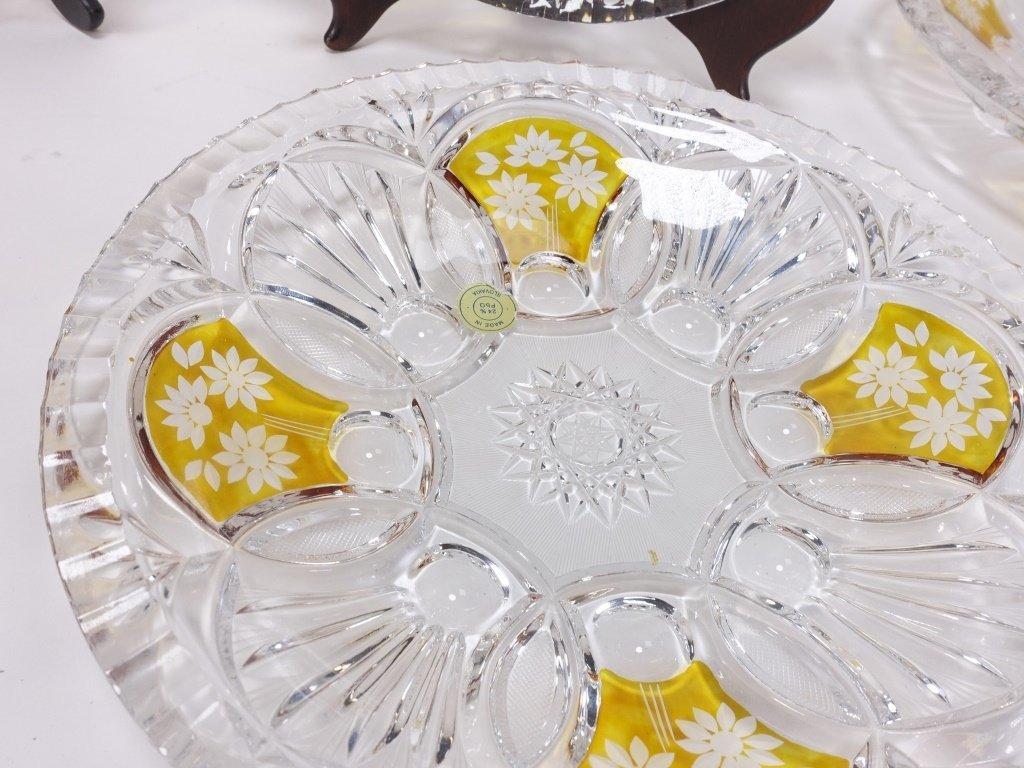 6 Czech Bohemian Enamel Cut Glass Plate Bowls - 5