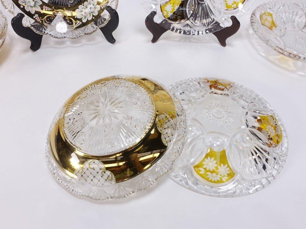 6 Czech Bohemian Enamel Cut Glass Plate Bowls - 6