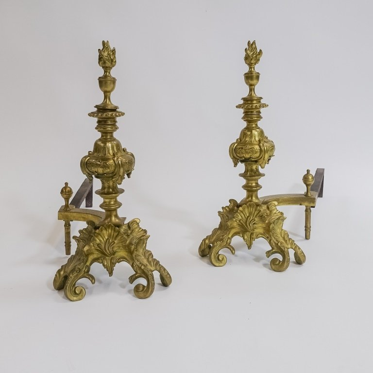 PR. French C.1900 Rococo Shell & Torch  Andirons