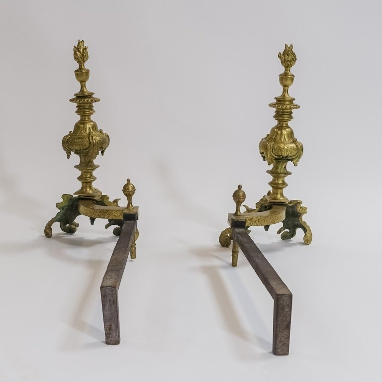 PR. French C.1900 Rococo Shell & Torch  Andirons - 2