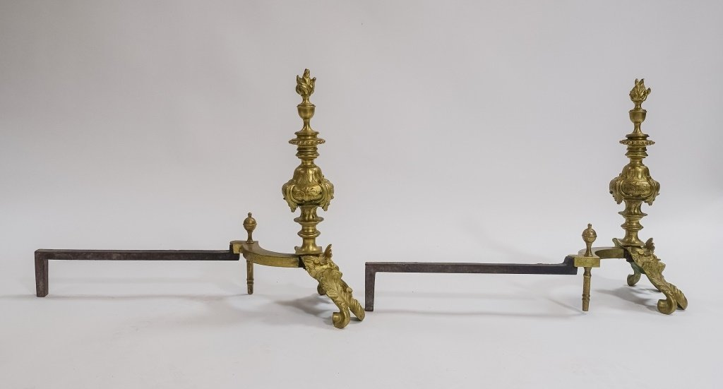 PR. French C.1900 Rococo Shell & Torch  Andirons - 3