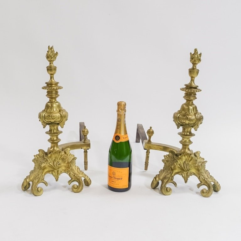 PR. French C.1900 Rococo Shell & Torch  Andirons - 5