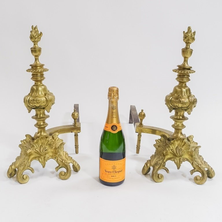PR. French C.1900 Rococo Shell & Torch  Andirons - 8