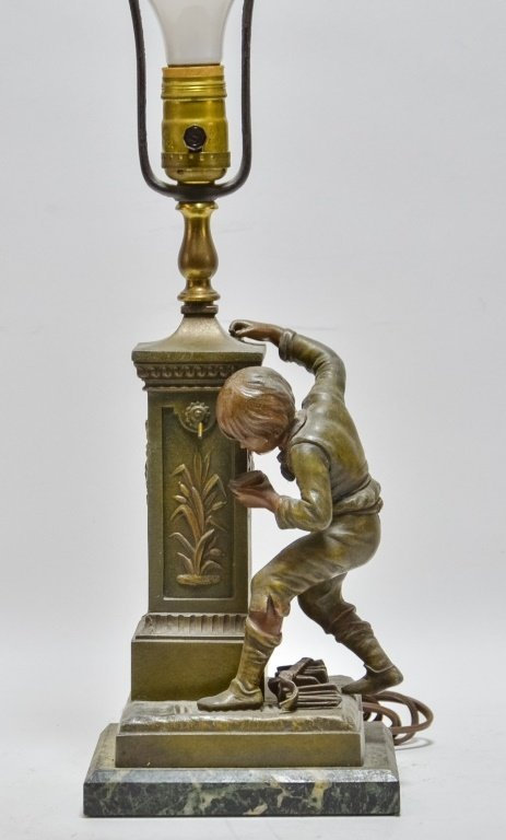 French Terville Juan Patinated Metal Figural Lamp