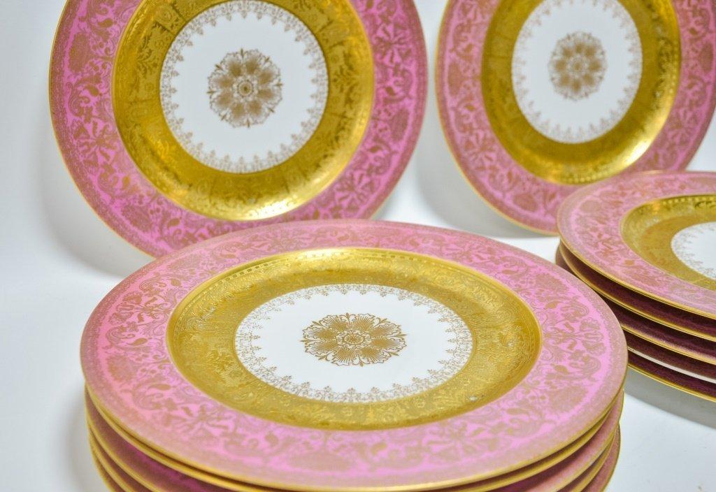 Set 12 Hutschenreuther Pink Gilt Porcelain Plates - 2