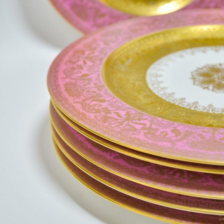 Set 12 Hutschenreuther Pink Gilt Porcelain Plates - 3