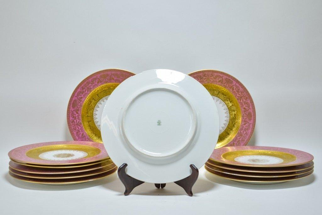 Set 12 Hutschenreuther Pink Gilt Porcelain Plates - 4