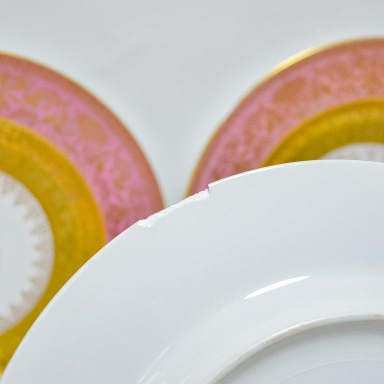 Set 12 Hutschenreuther Pink Gilt Porcelain Plates - 5