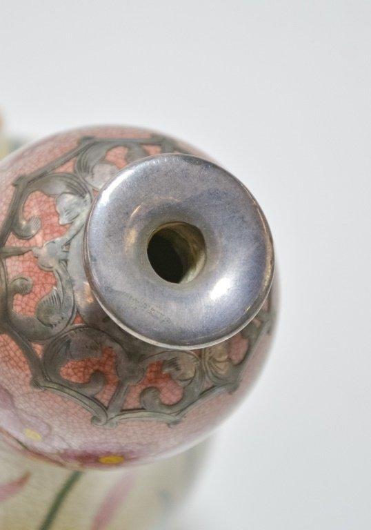 German Royal Bonn Art Nouveau Silver Overlay Vase - 3