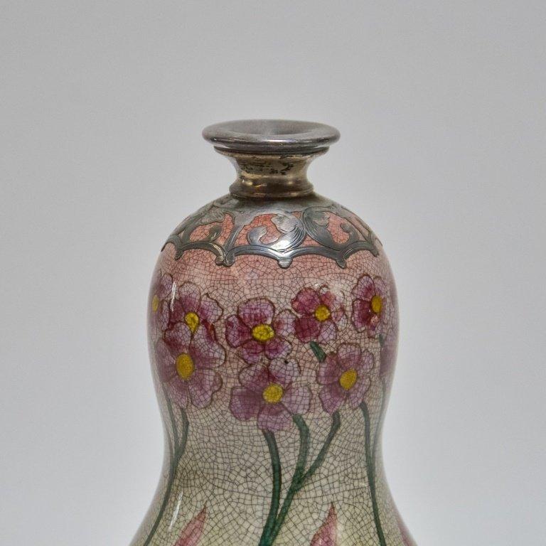 German Royal Bonn Art Nouveau Silver Overlay Vase - 5