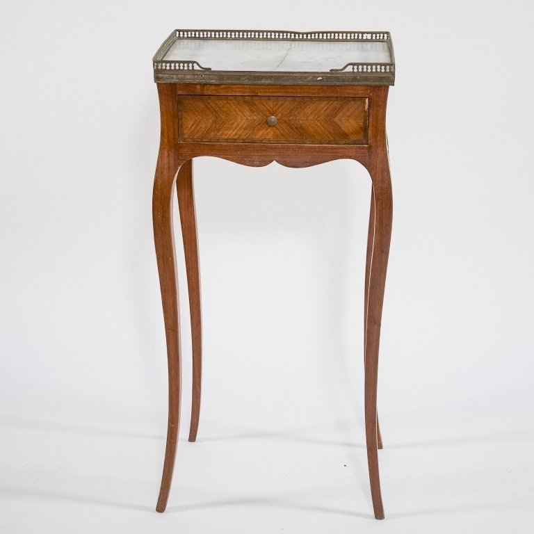 French C.1920 Mahogany Marble Top One Drawer Stand