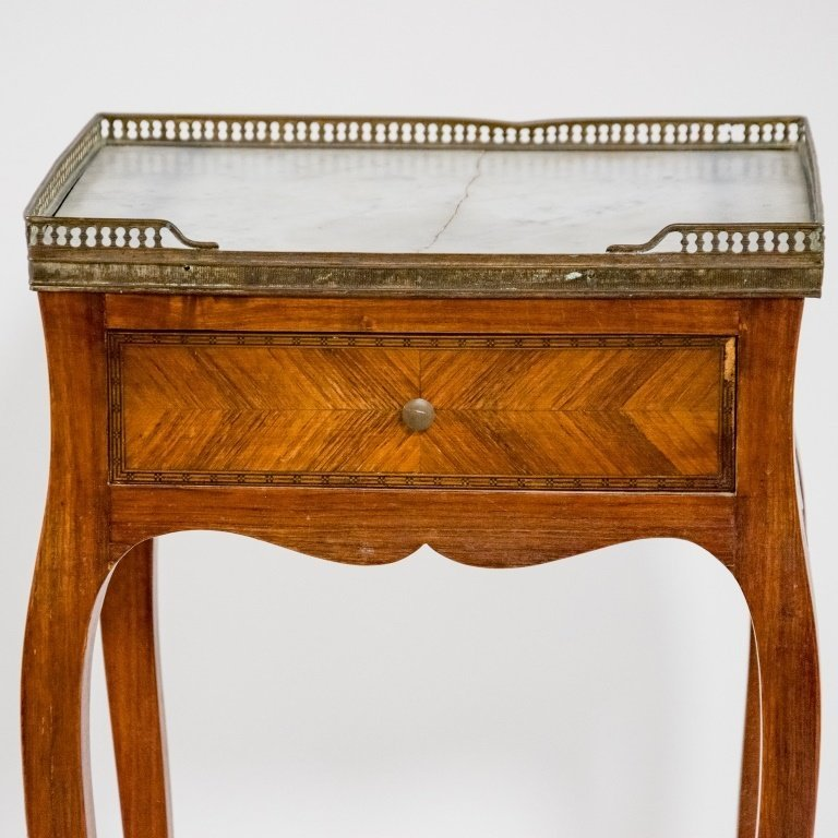 French C.1920 Mahogany Marble Top One Drawer Stand - 2